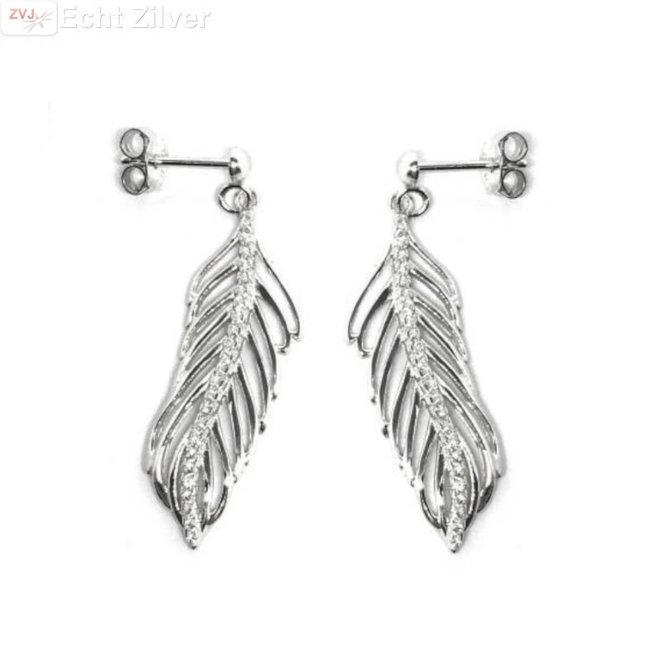 Zilveren veren oorbellen witte cz rhodium