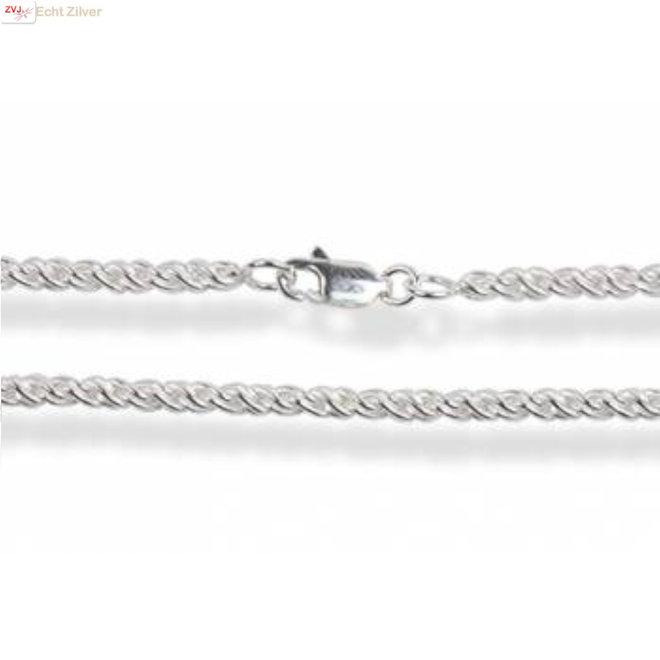 Zilveren twist rope ketting 60 cm 2 mm