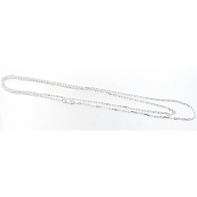 Zilveren vierkante kabel ketting 80 cm 2,1 mm