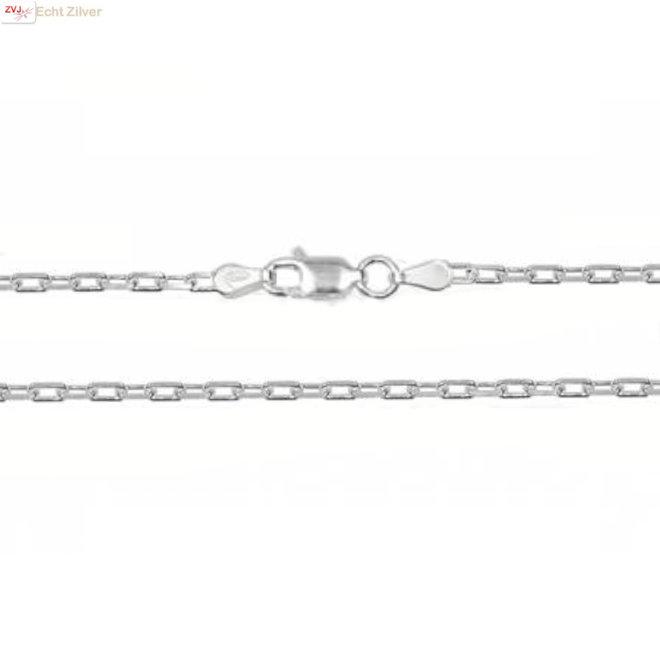 Zilveren vierkante kabel ketting 60 cm 2,1 mm