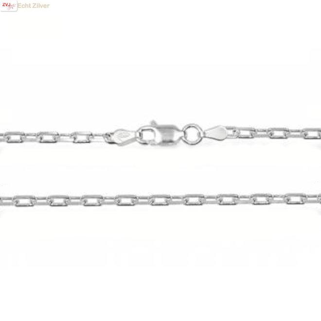 Zilveren vierkante kabel ketting 80 cm 2,9 mm