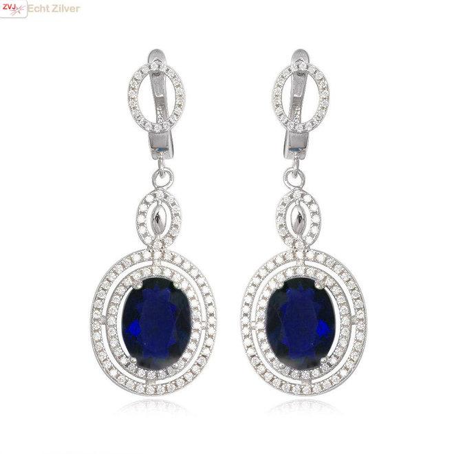 Zilveren exclusieve saffier blauw  wit  zirkoon oorhangers