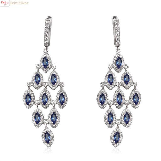 Zilveren luxe saffier blauw wit ruit oorhangers
