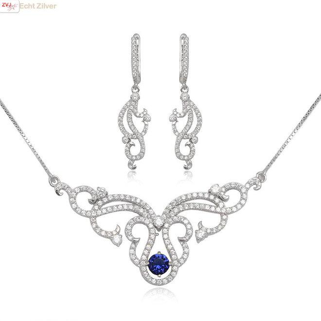 Zilveren luxe set ketting oorbellen wit blauw