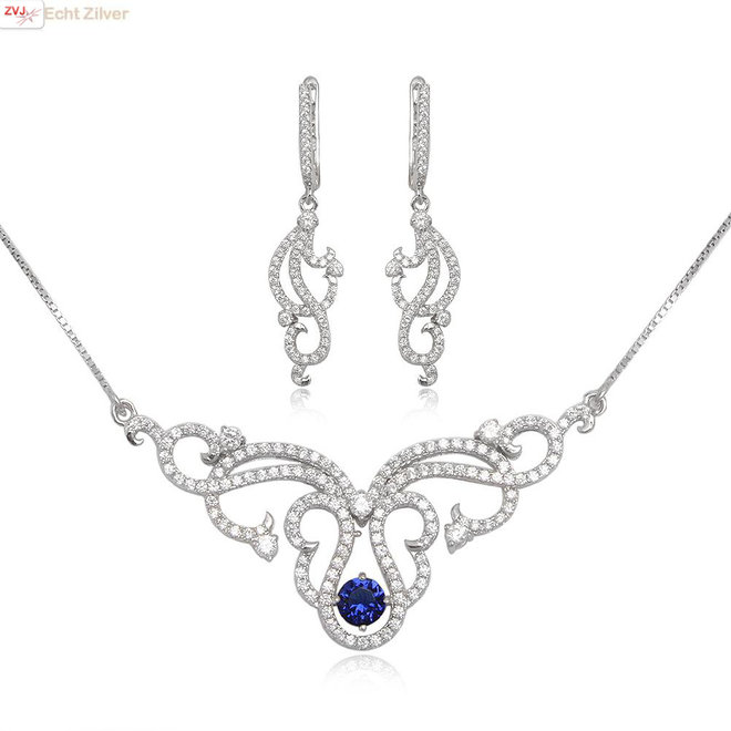 Zilveren luxe set ketting oorbellen wit en saffier blauw