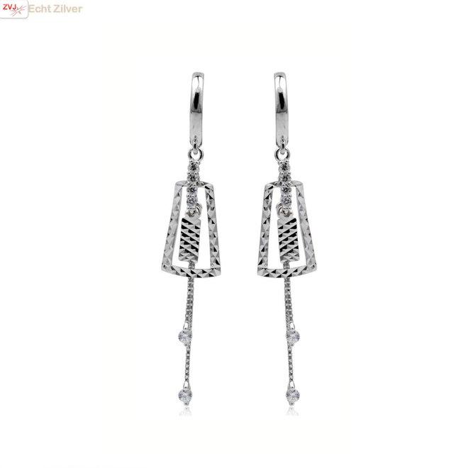 Zilveren huggie hoops bling hangers met witte steen