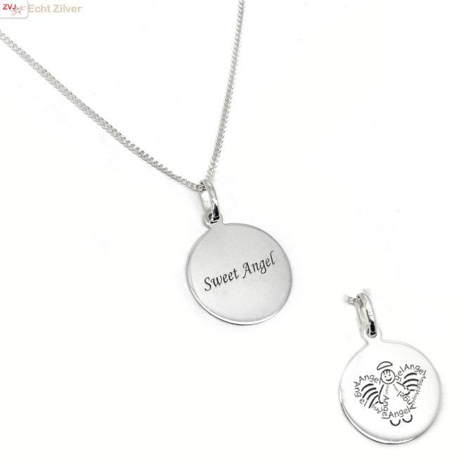 Zilveren sweet angel munt ketting