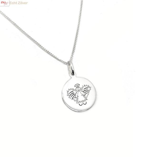 Zilveren gourmet ketting met zilveren sweet angel munt hanger