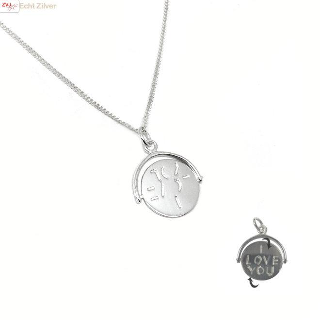 Zilveren I love you spinning munt ketting