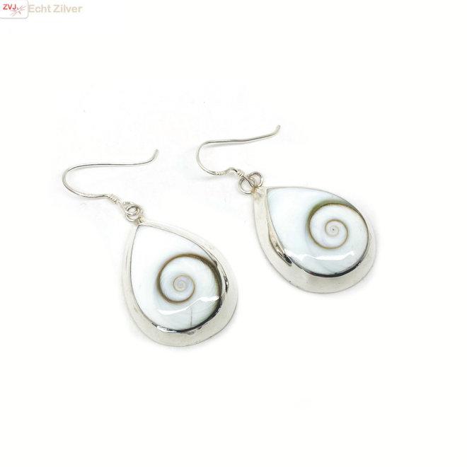 Zilveren grote shiva eye druppel oorbellen