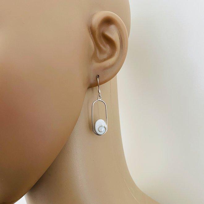 Zilveren shiva eye ovale oorbellen