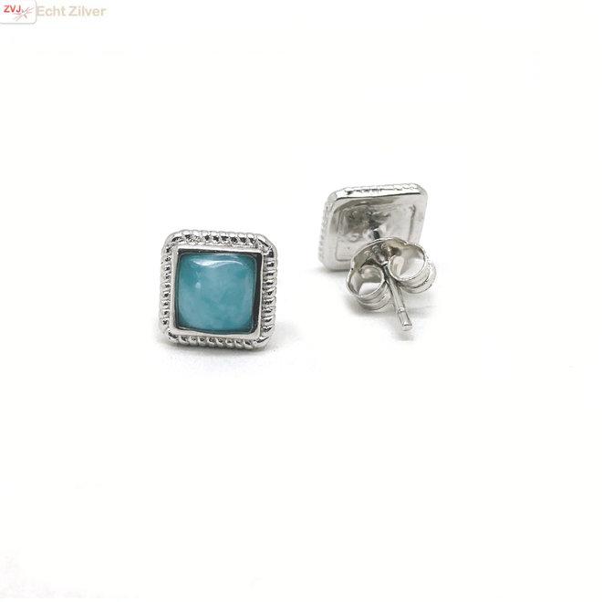 Zilveren vierkante  blauwe larimar oorstekers