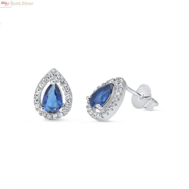 Zilveren Diana druppel oorstekers saffier blauw en wit