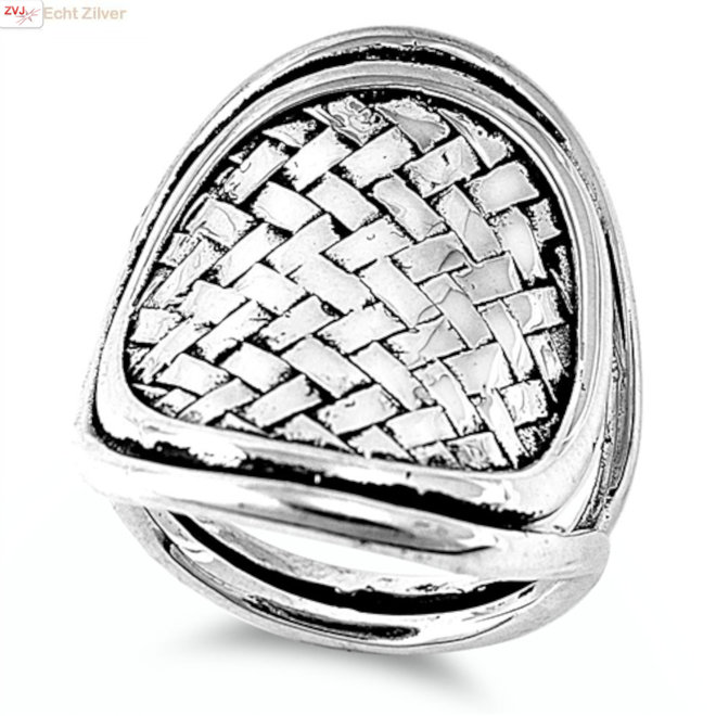 Zilveren grote design vlecht ring