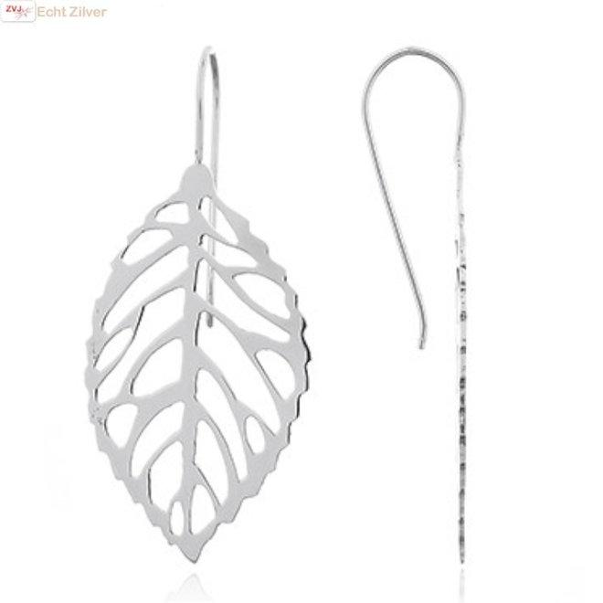 Zilveren blad leaf oorbellen grote haak