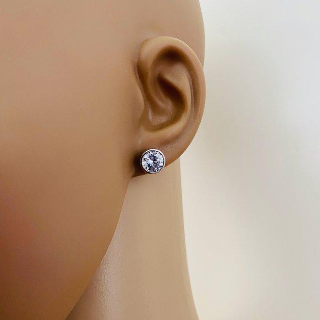 Zilveren ronde 8 mm witte zirkoon in bezel zetting oorknoppen