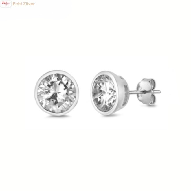 Zilveren ronde 8 mm witte cz oorknoppen