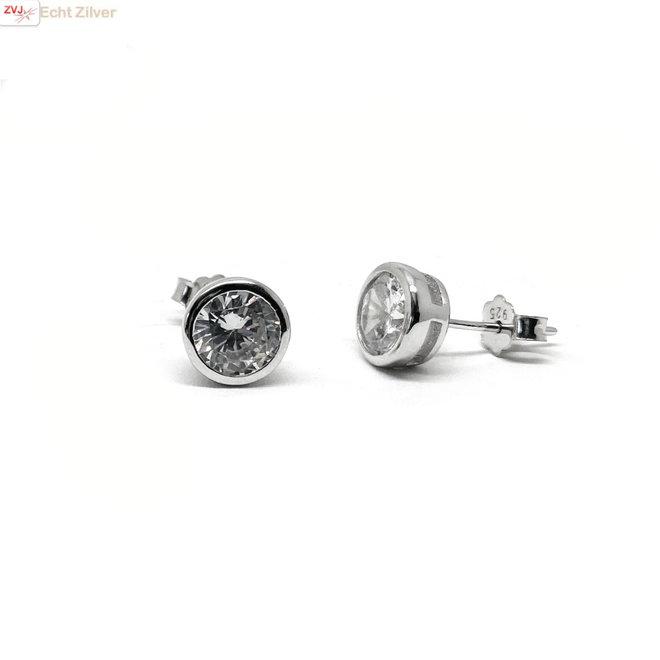 Zilveren ronde 7 mm witte zirkoon in bezel zetting oorknoppen