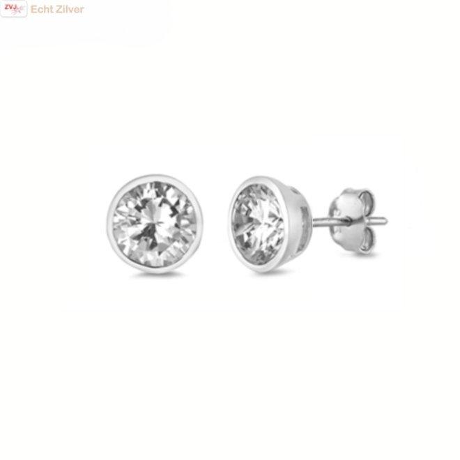 Zilveren ronde 7 mm witte cz oorknoppen