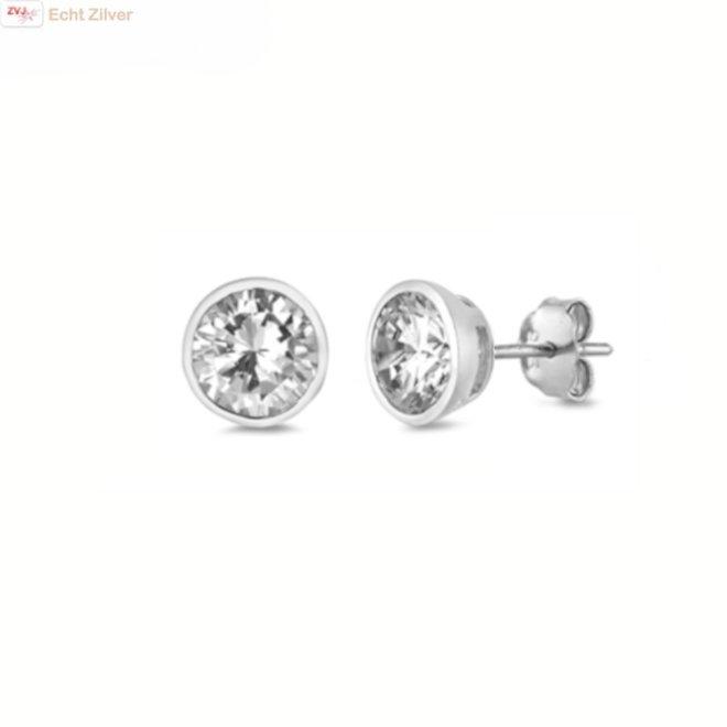 Zilveren ronde 6 mm witte zirkoon in bezel zetting oorknoppen
