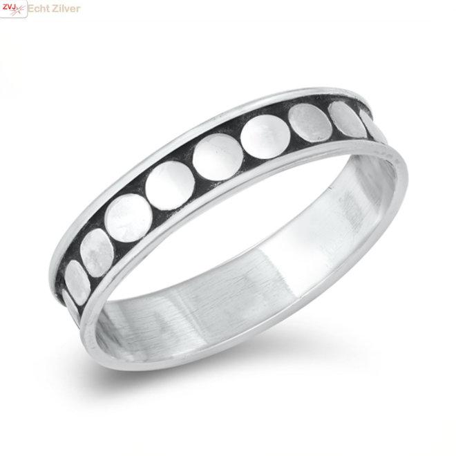 Zilveren bali dots ring