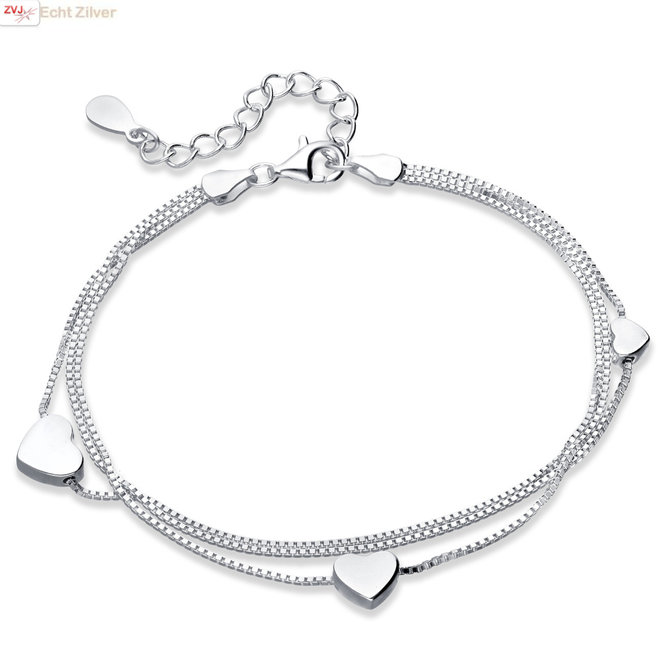 Zilveren armband 3 hartjes