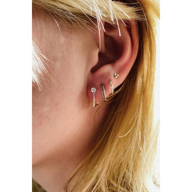 Zilveren little diamond hook oorbellen