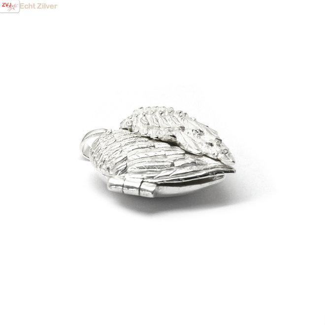 925 Zilver hanger medaillon hart met deurtjes