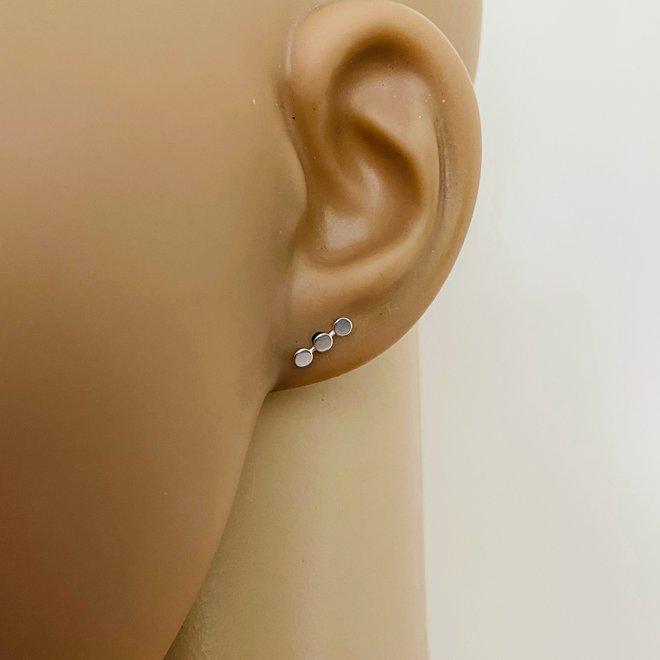 Zilveren 3 cirkels op rij oorstekers