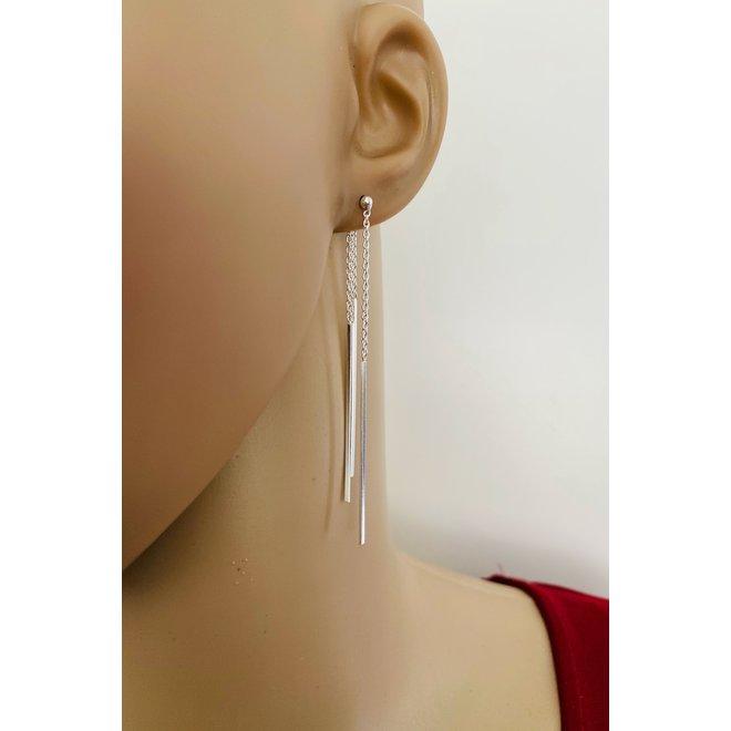 Zilveren staaf jacket lange oorbellen