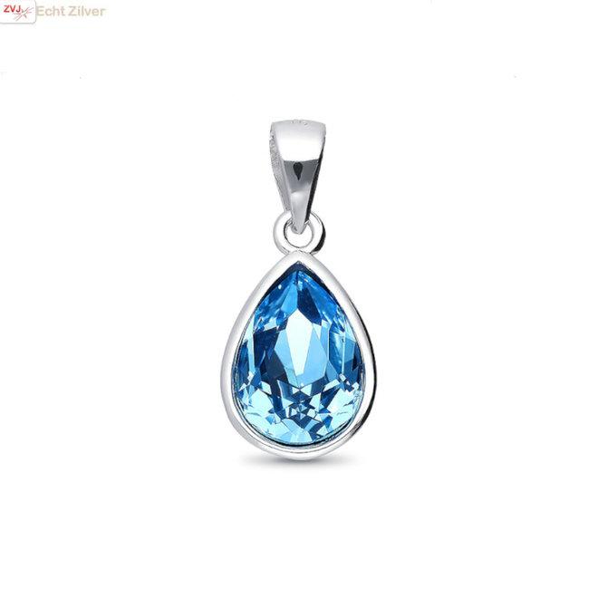 Zilveren Swarovski blauw aqua crystal druppel hanger