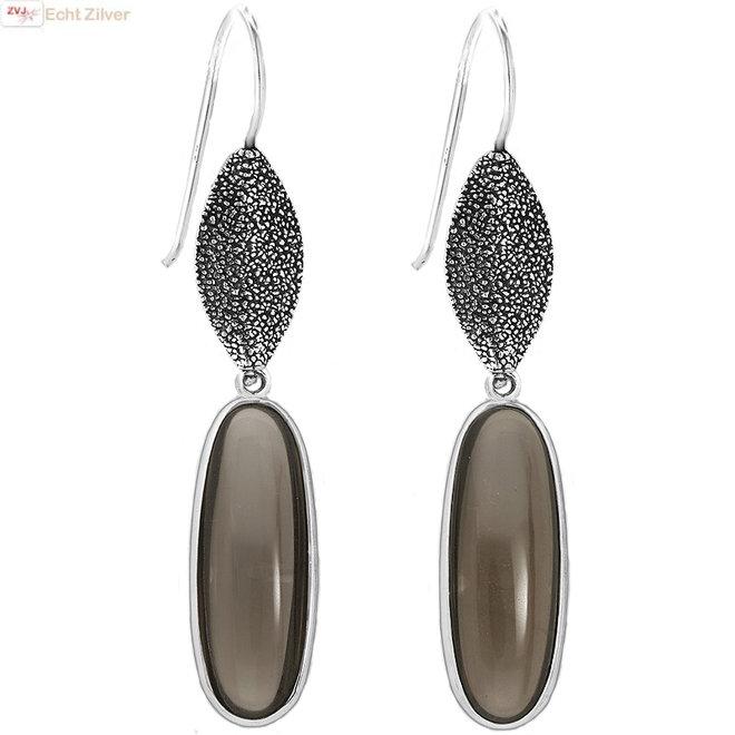 Zilveren Maxima ovale smoky kwarts oorhangers