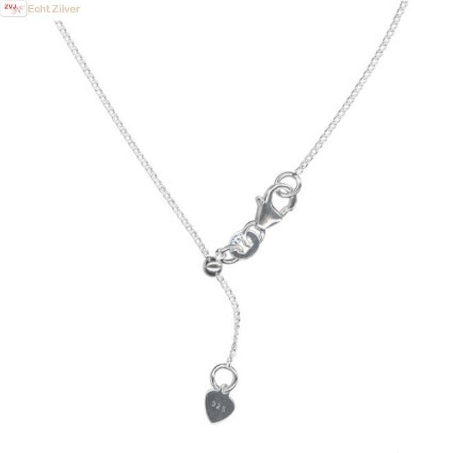 Zilveren fijne gourmet ketting verstelbaar 60 cm