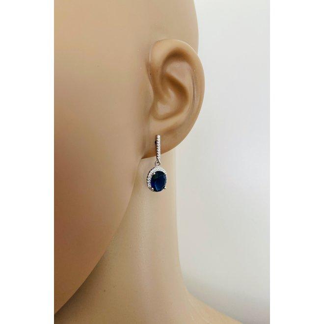 Zilveren saffier blauwe ovale Diana oorhangers CZ