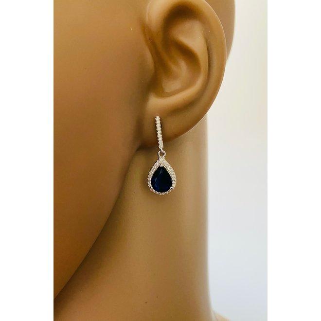 Zilveren saffier blauwe Diana druppel oorhangers CZ