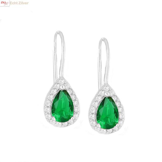 Zilveren smaragd groene druppel oorhangers witte CZ
