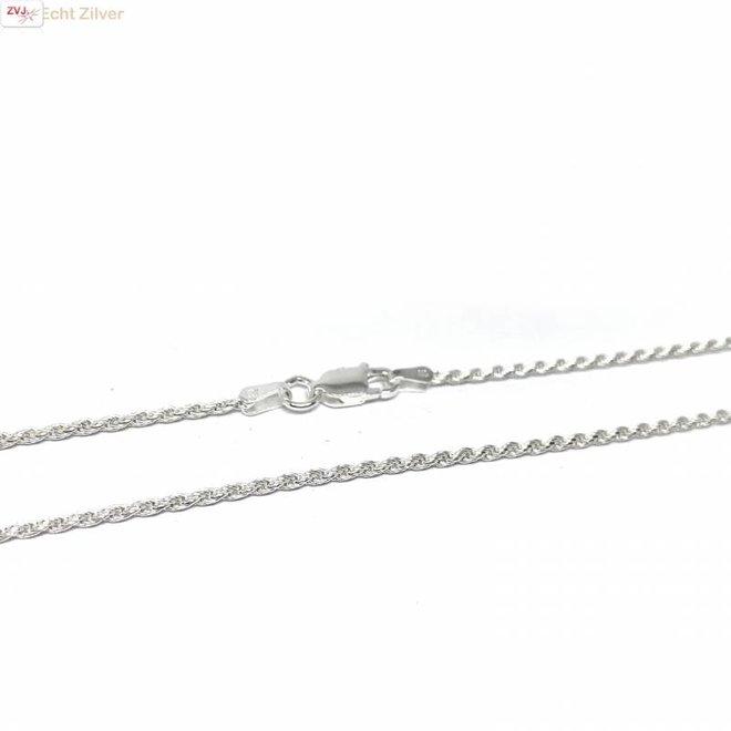 Zilveren rope ketting 55 cm 1.6 mm