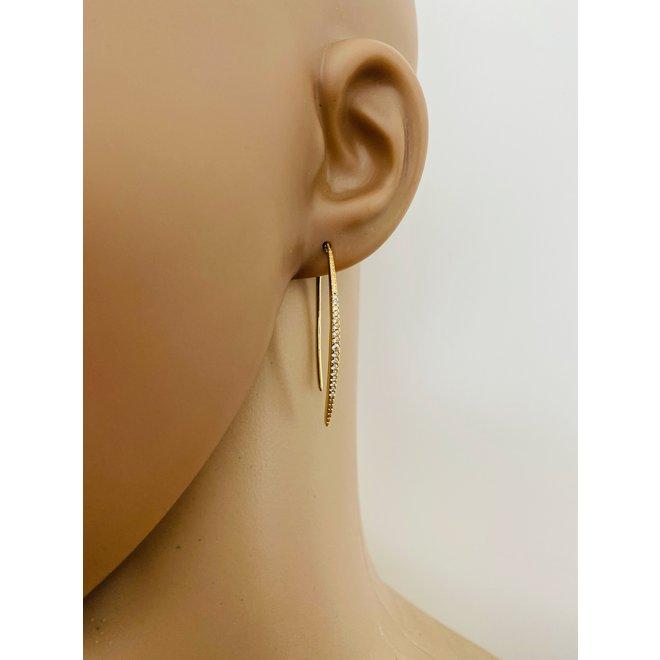 Goud op zilver unieke dangle witte CZ oorbellen