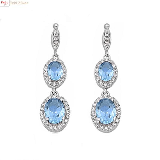 Zilveren elegante aquamarijn blauwe oorbellen