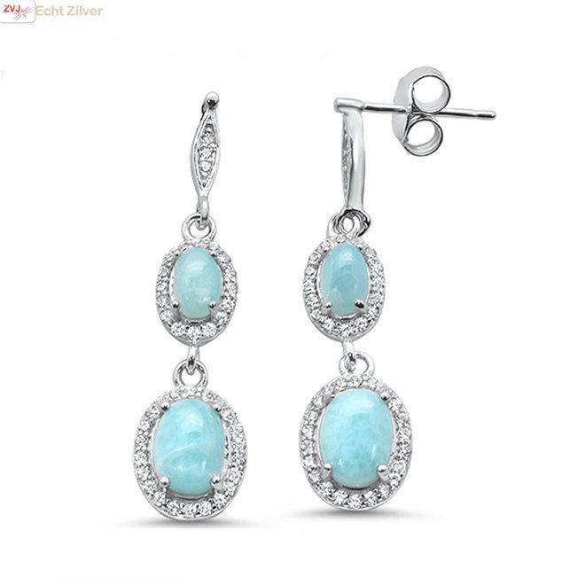 Zilveren elegante blauwe Larimar oorbellen
