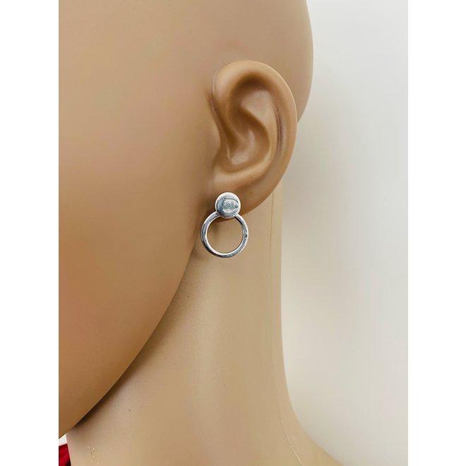 Zilveren cirkel stud oorstekers 2-delig