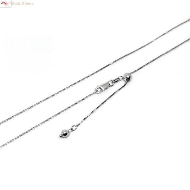 Zilveren rhodium box ketting verstelbaar 55 cm