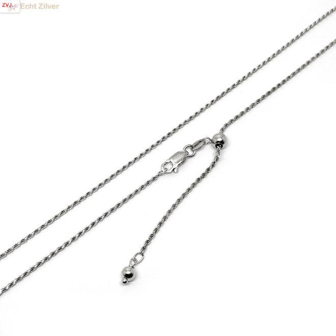 Zilveren rhodium rope ketting verstelbaar 55 cm
