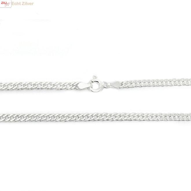 Zilveren 55 cm dubbele gourmet schakel ketting 3,5 mm breed