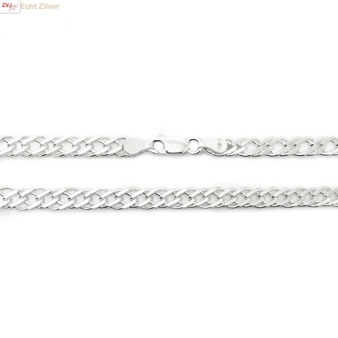Zilveren 55 cm dubbele gourmet schakel ketting 6 mm breed