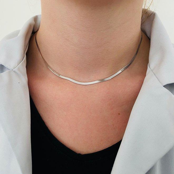 Zilveren flat chain 45 cm verstelbaar