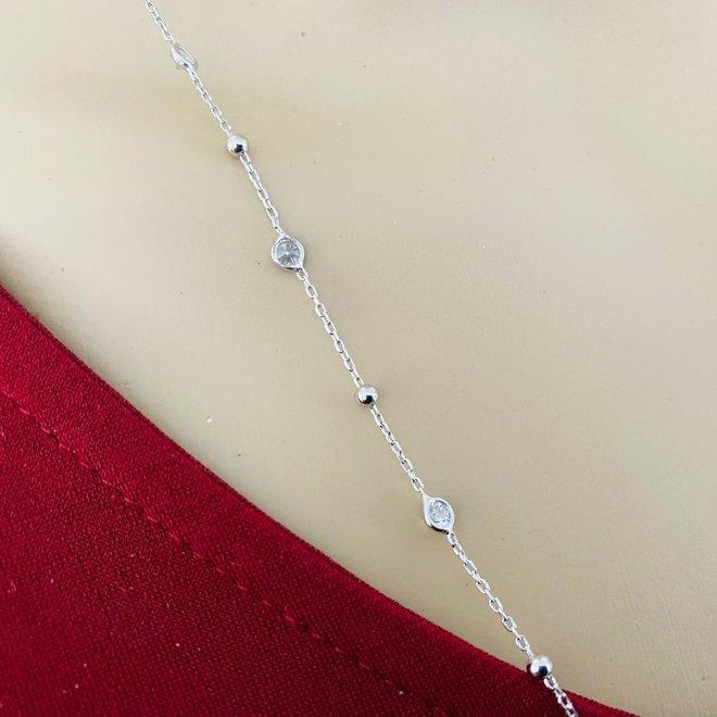 Zilveren bal zirkoon kabel ketting 70 cm en verstelbaar