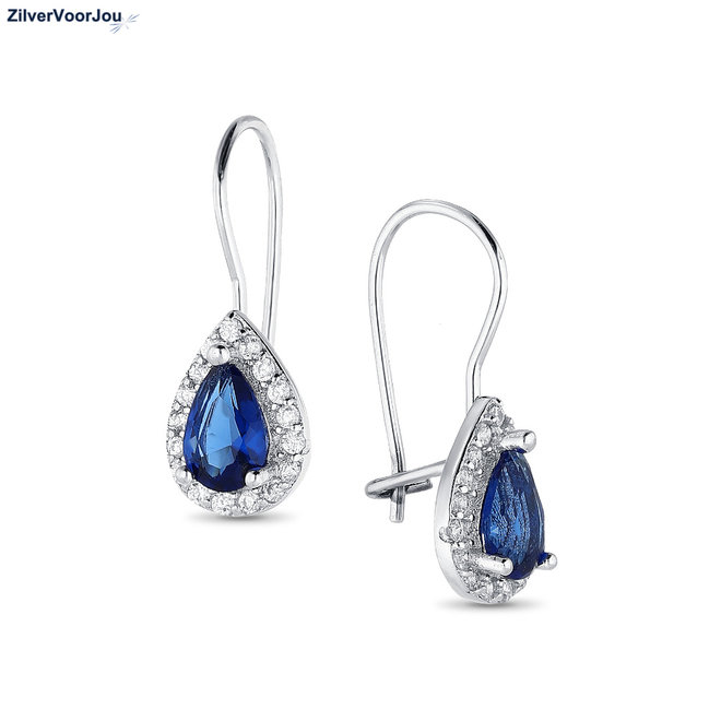 Zilveren saffier blauwe druppel oorhangers witte CZ