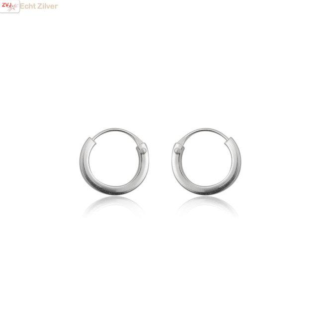 Zilveren mini oorringen 10 mm 1,5 mm vierkante buis