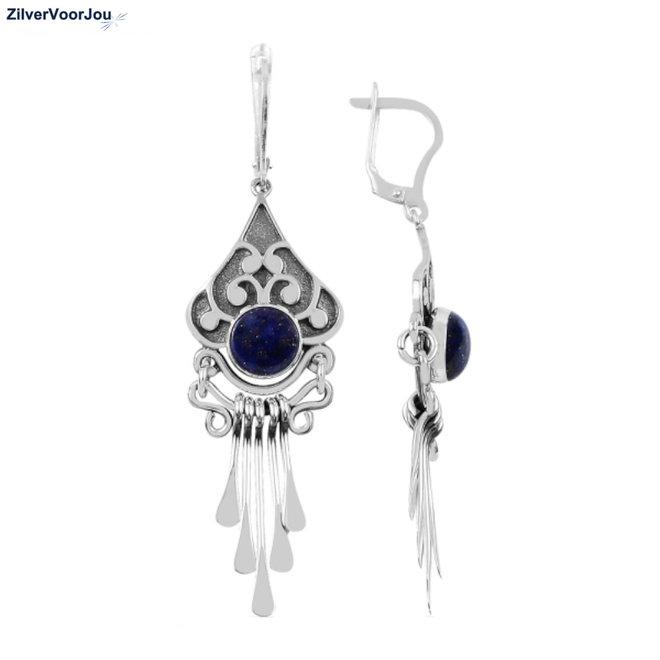 Zilveren grote blauwe lapis lazuli oorhangers  handgemaakt